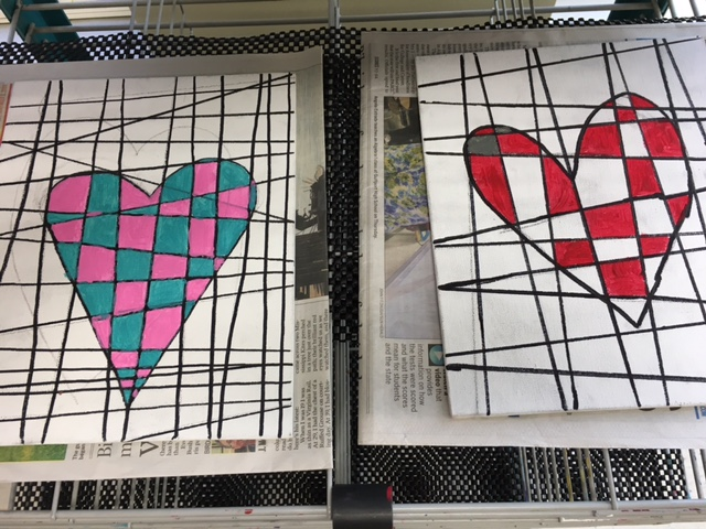 Arts and Crafts Club Abstract Heart Paintings