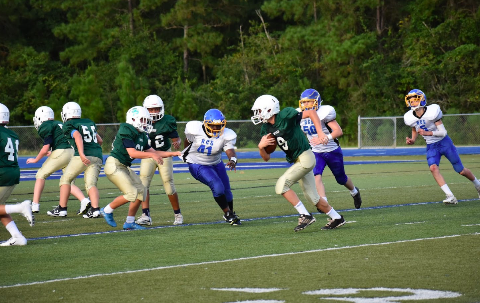 Junior High Football Team plays Resurrection